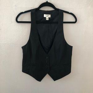Ann Taylor Loft   Black Button Up Vest w Pockets M